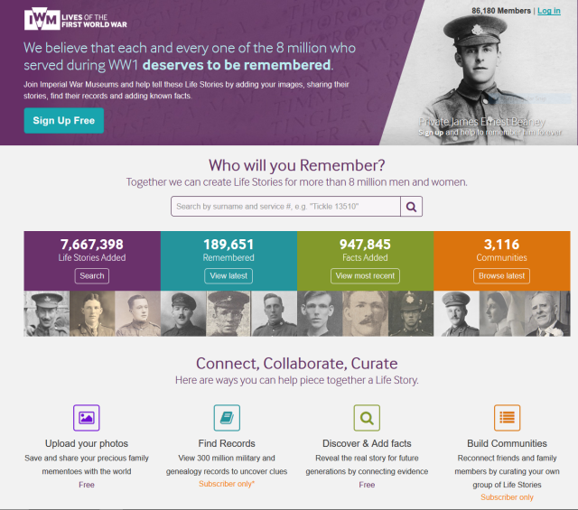 Lives of the First World War homepage