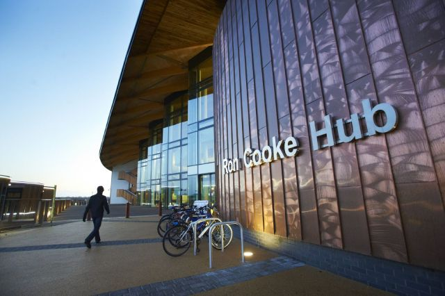 Exterior of the Ron Cooke Hub.