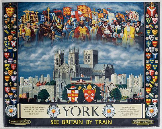 "York Minster. Caption reads ""York, See Britain by Train"""